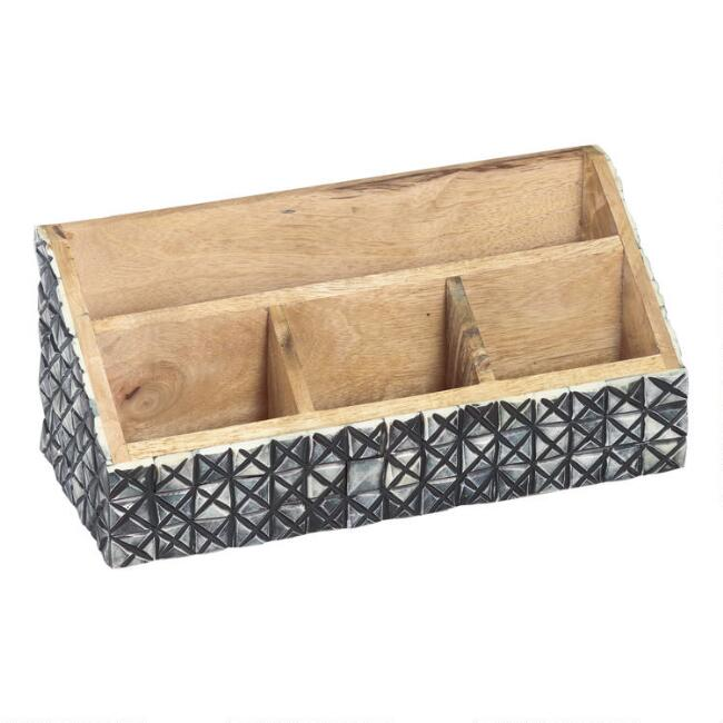 Black Geometric Bone Quinn Desk Organizer
