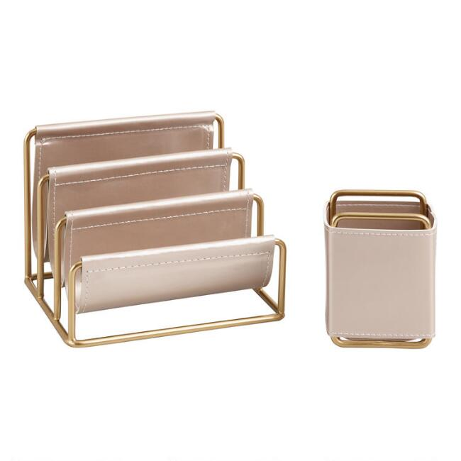 Champagne Vegan Leather Nicole Desk Accessories Collection by World Market