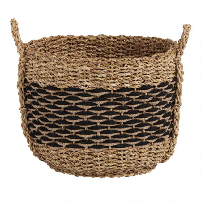 Black and Tan Seagrass and Rope Josie Basket