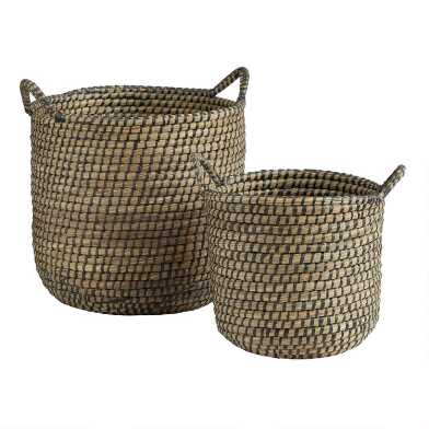 Espresso and Natural Seagrass Joanna Tote Basket
