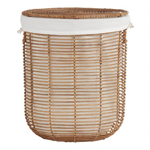 Natural Rattan Hayley Hamper With Lid And Lining