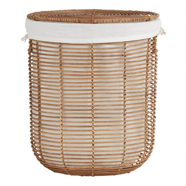 Natural Rattan Hayley Hamper With Liner And Lid