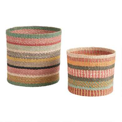 Multicolor Stripe Abaca Rope Aria Basket