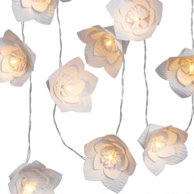 Paper Flower LED 10 Bulb Battery Operated String Lights