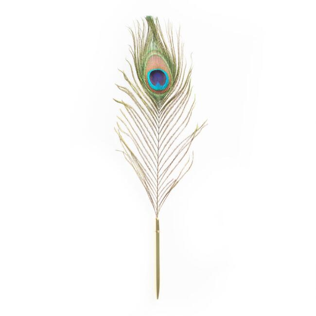 Gold Peacock Feather Quill Pen