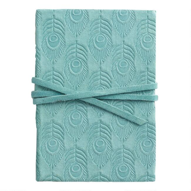 Mini Blue Embossed Suede Journal