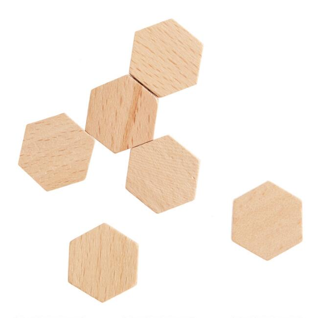 Wood Hexagon Magnets Set Of 6 by World Market