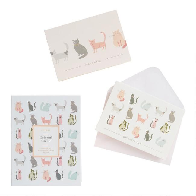 Colorful Cats Boxed Notecards Set of 16