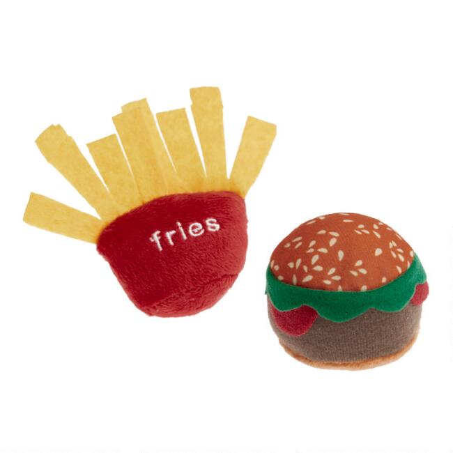 Burger and Fries Crinkle Catnip Cat Toys 2 Pack