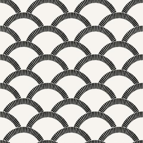 Black And Off White Scallop Peel And Stick Wallpaper World Market