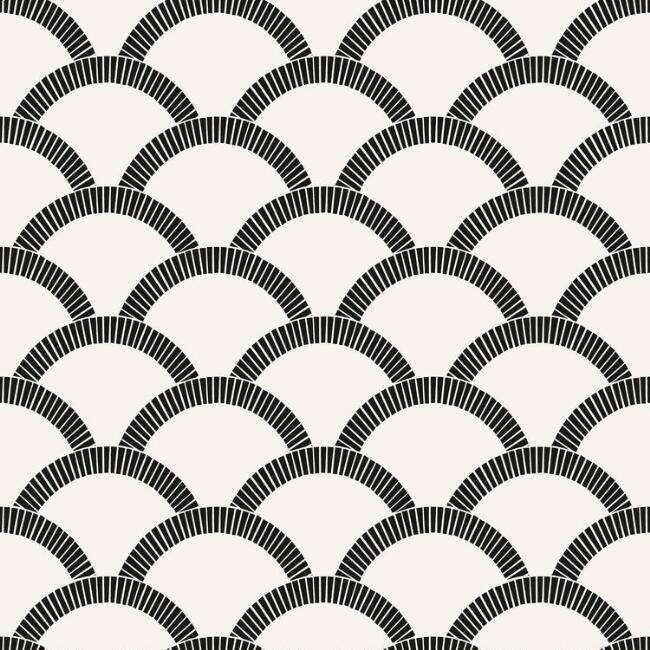 Black And Off White Scallop Peel And Stick Wallpaper