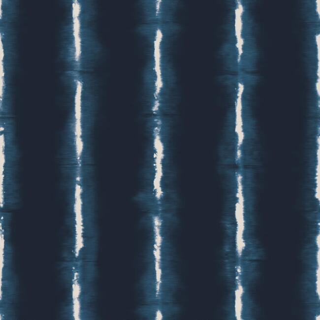 Indigo And White Shibori Stripes Peel And Stick Wallpaper
