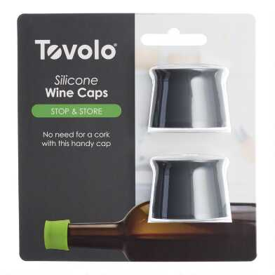Black Silicone Wine Bottle Stopper Caps 2 Pack