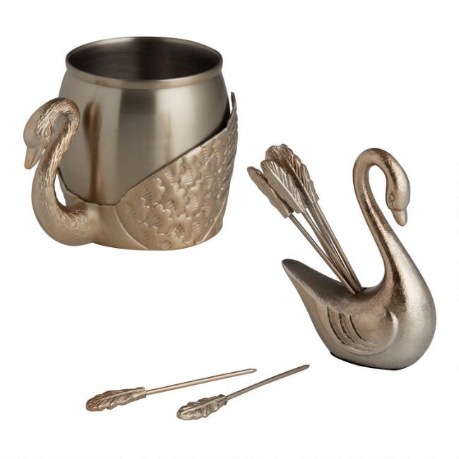 Gold Swan Bar Accessories Collection