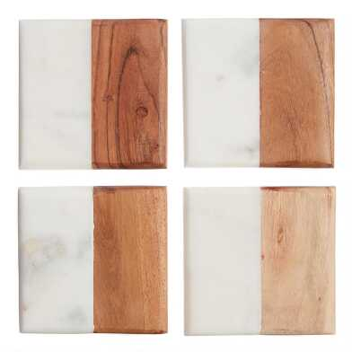 Square Marble and Wood Coasters 4 Pack