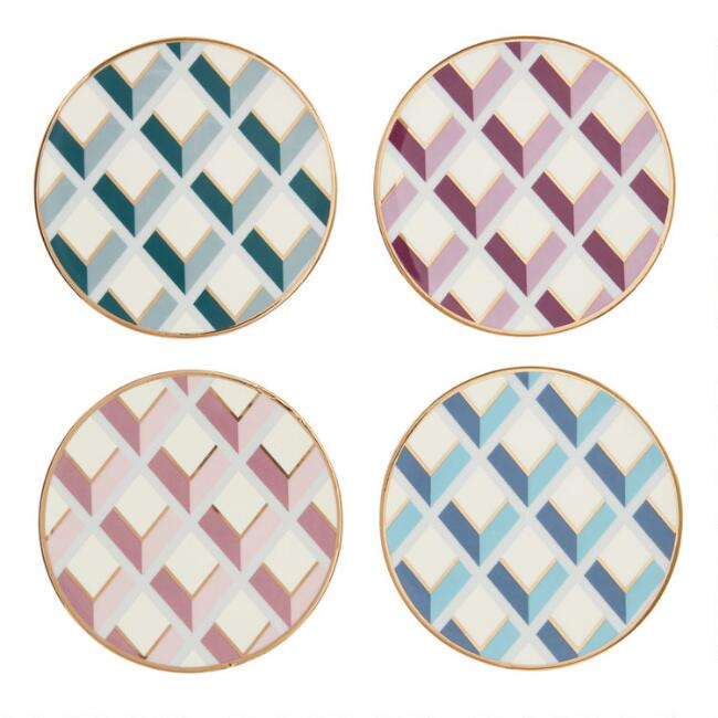 Art Deco Geo Ceramic Coasters 4 Pack