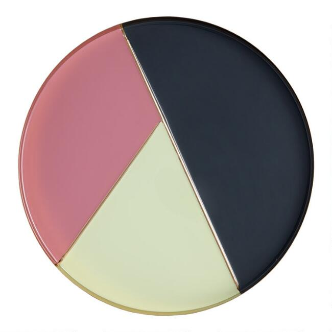 Round Art Deco Colorblock Serving Tray