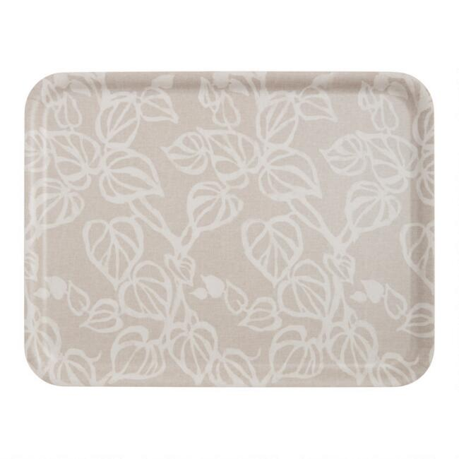 Large Taupe and White Vine Pressed Wood Tray