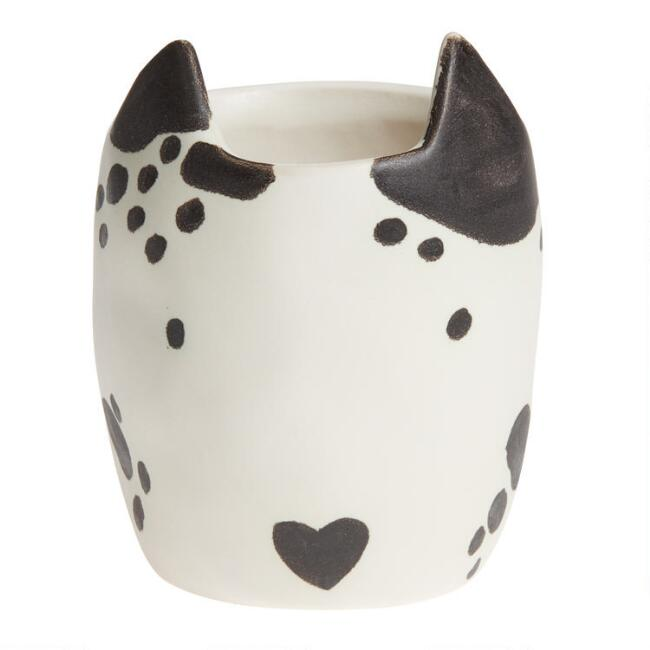 Black and White Dog Ceramic Planter