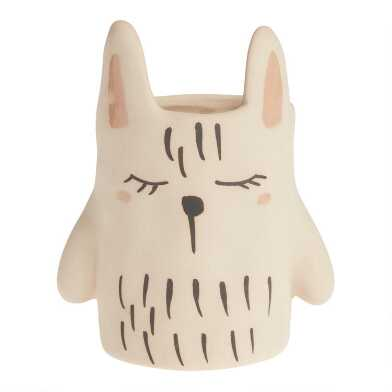 White Cat Ceramic Planter