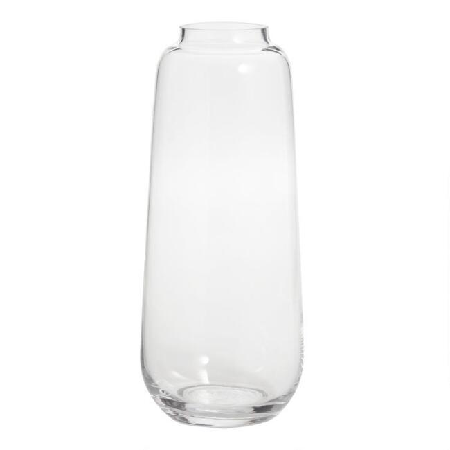 Tall Clear Glass Full Body Contemporary Vase
