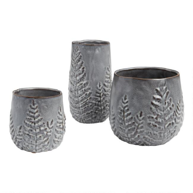 Black Leaf Reactive Glaze Ceramic Vase and Planters