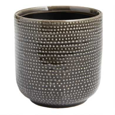 Black Dot Reactive Glaze Ceramic Planter