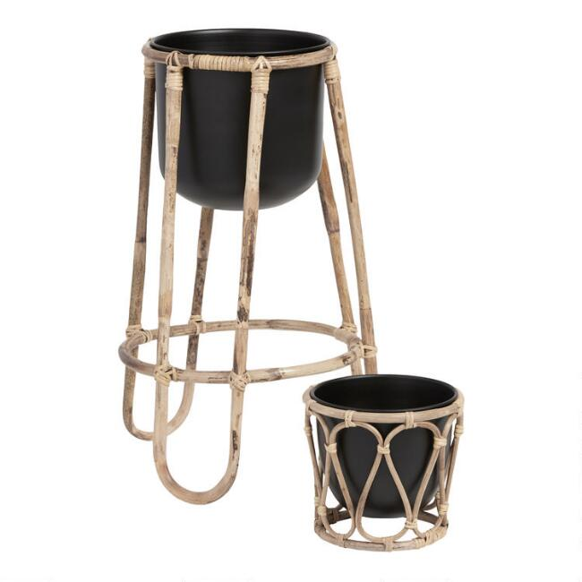 Black Metal Planter with Rattan Cane Stand Collection