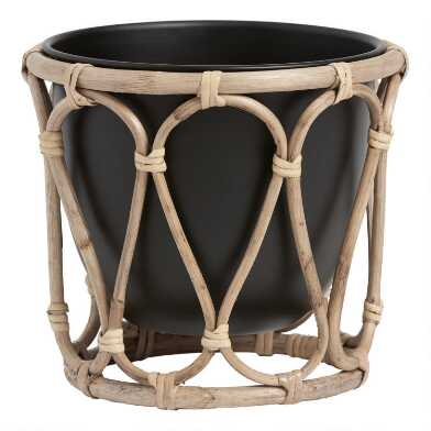 Black Metal Tabletop Planter with Rattan Cane Stand