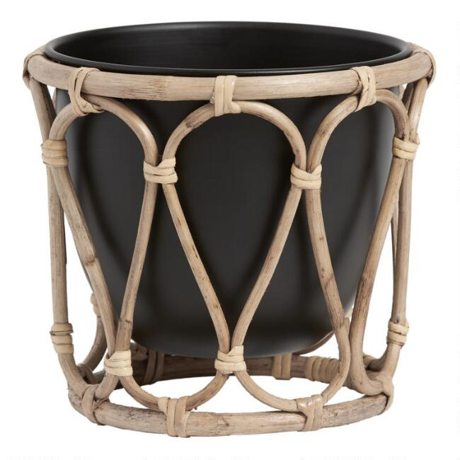 Black Metal Tabletop Planter With Rattan Cane Stand by World Market