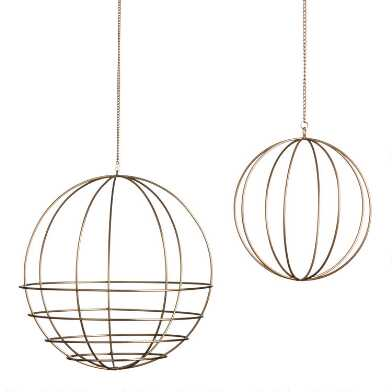 Gold Wire Sphere Plant Hanger