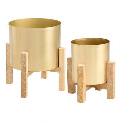 Gold Planter with Wooden Stand