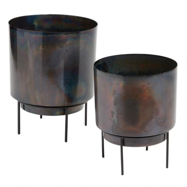 Black Oiled Finish Metal Planter with Stand