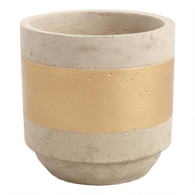 Gold Stripe Cement Planter
