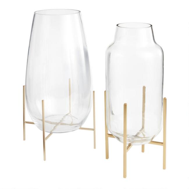 Large Clear Glass Vase With Stand Collection