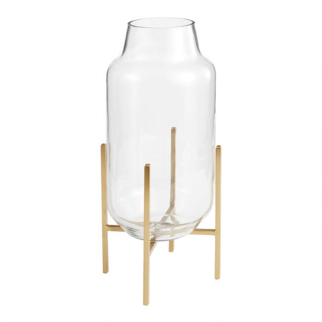 Large Clear Glass Cylinder Vase With Gold Stand