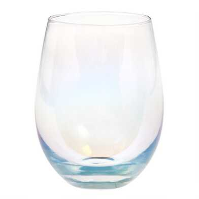 Iridescent Stemless Wine Glasses Set of 4