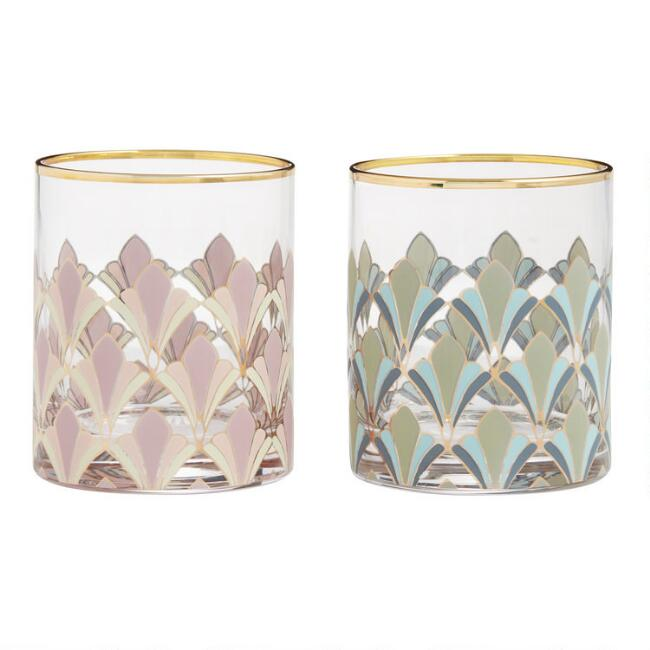Art Deco Gable Double Old Fashioned Glasses Set of 2