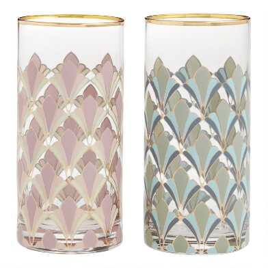 Art Deco Gable Highball Glasses Set of 2