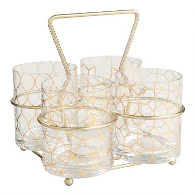 Deco Double Old Fashioned Glasses and Carrier 5 Piece Set