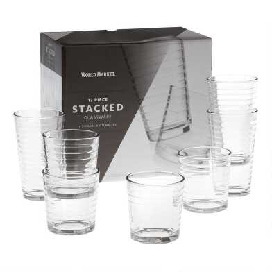 Stacked Glassware 12 Piece Set