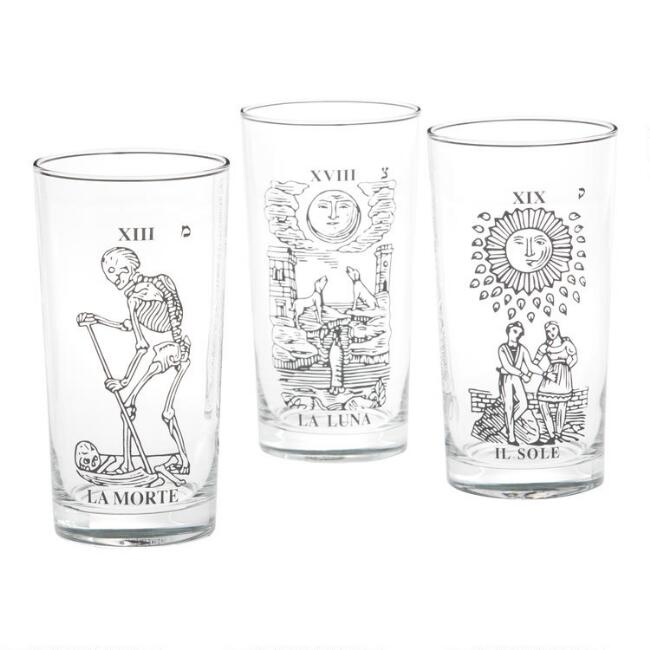 Tarot Card Pint Glasses Set of 3