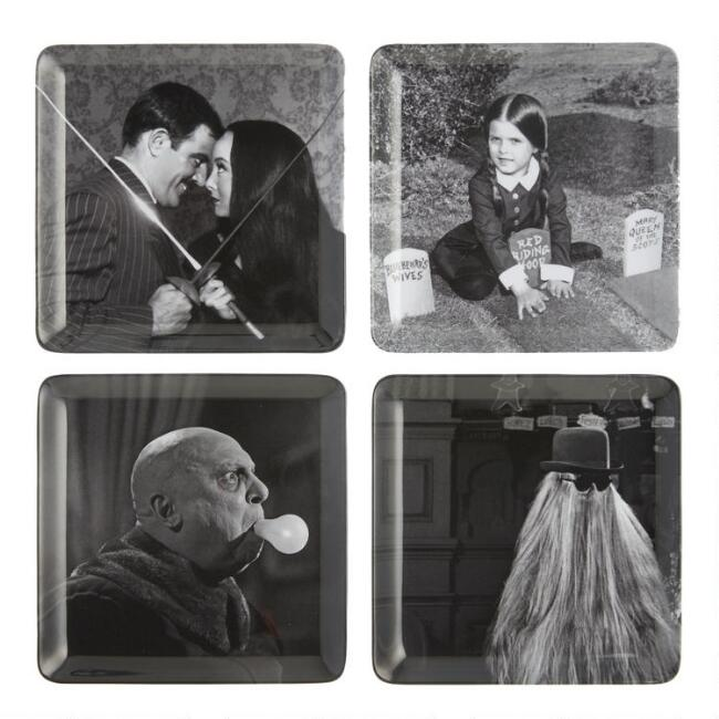 Addams Family Melamine Appetizer Plates Set of 4