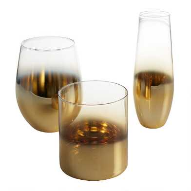 Gold Metallic Ombre Glassware Set of 4