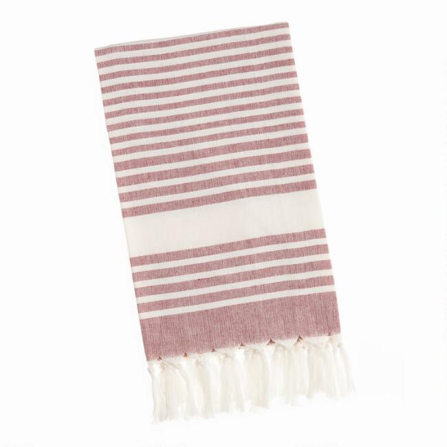 Burgundy Stripe Kitchen Towel with Knotted Fringe
