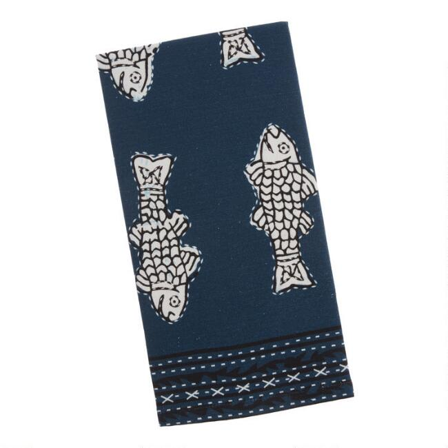 Blue Fish Print Kitchen Towel