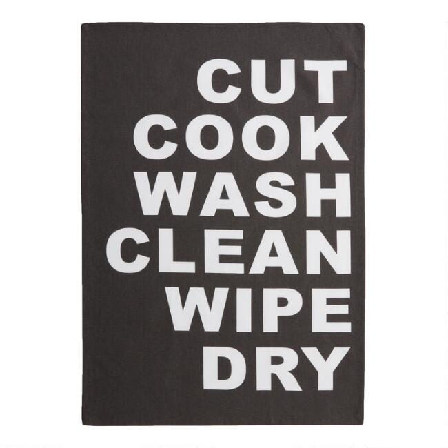 Charcoal Cut Cook Wash Clean Wipe Dry Kitchen Towel