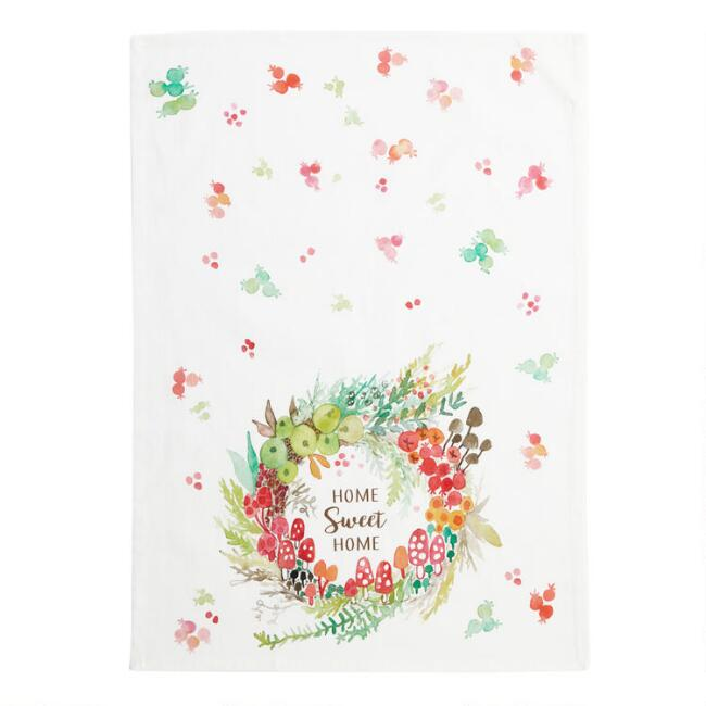 Multicolor Floral Home Sweet Home Kitchen Towel