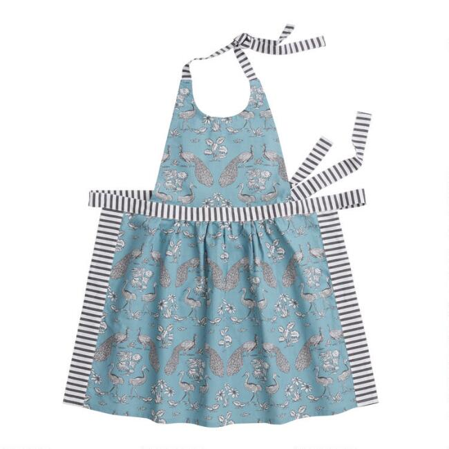 Slate Blue and White Print Marlena Apron