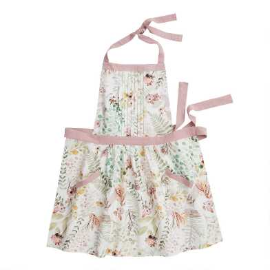 Green And Pink Fern Print Apron